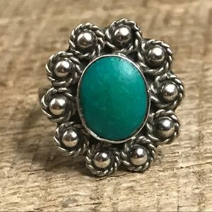 Vintage Taxco 925 Sterling Silver Turquoise Ring
